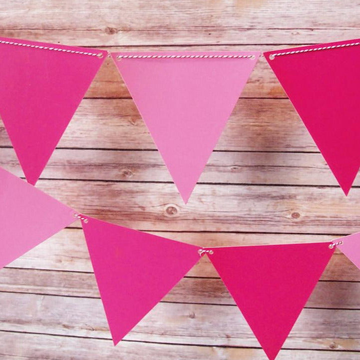 BLOWOUT Pink Ombre Triangle Flag Pennant Banner (11FT)
