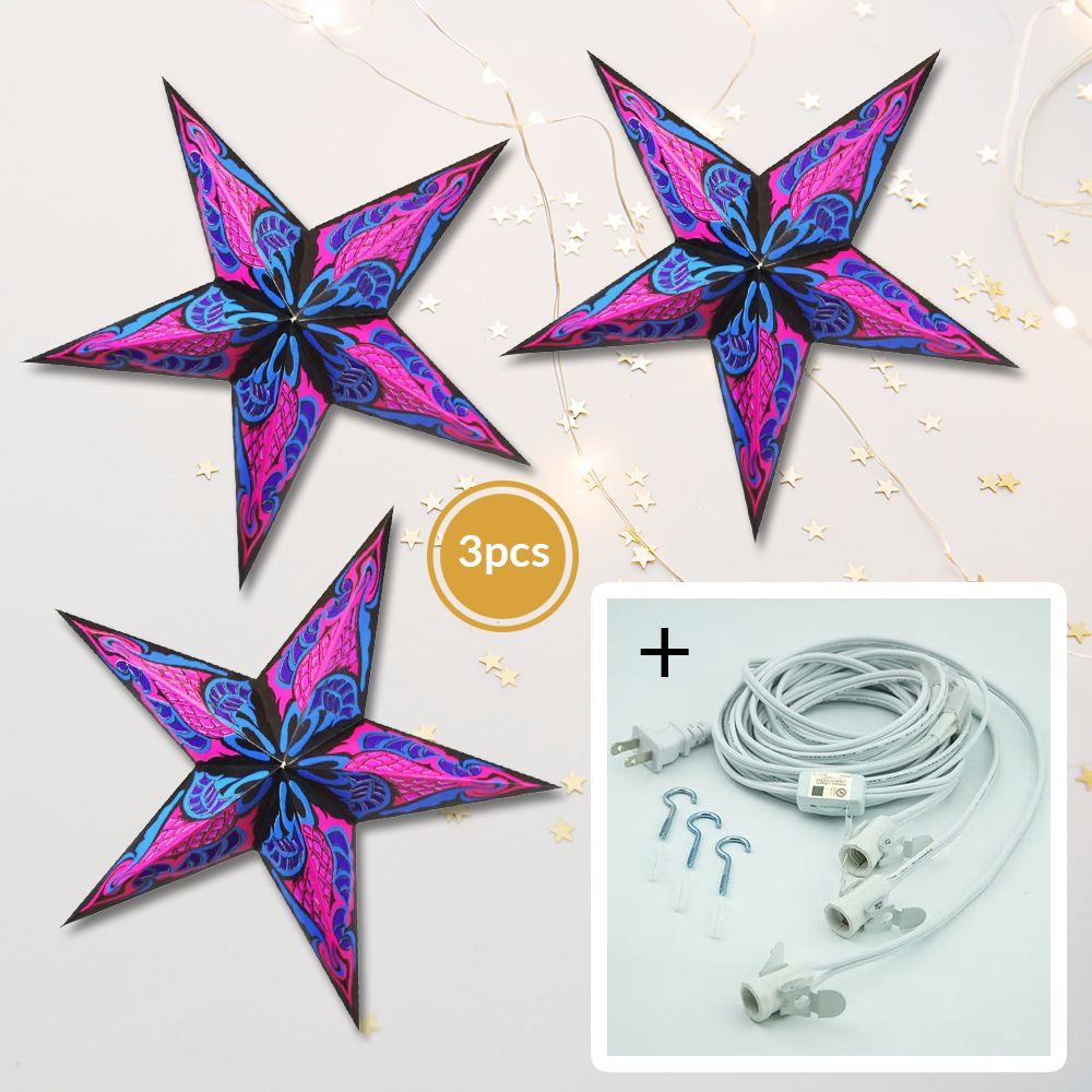"3-PACK + Cord | Fuchsia Pink Flame 24"" Illuminated Paper Star Lanterns and Lamp Cord Hanging Decorations"