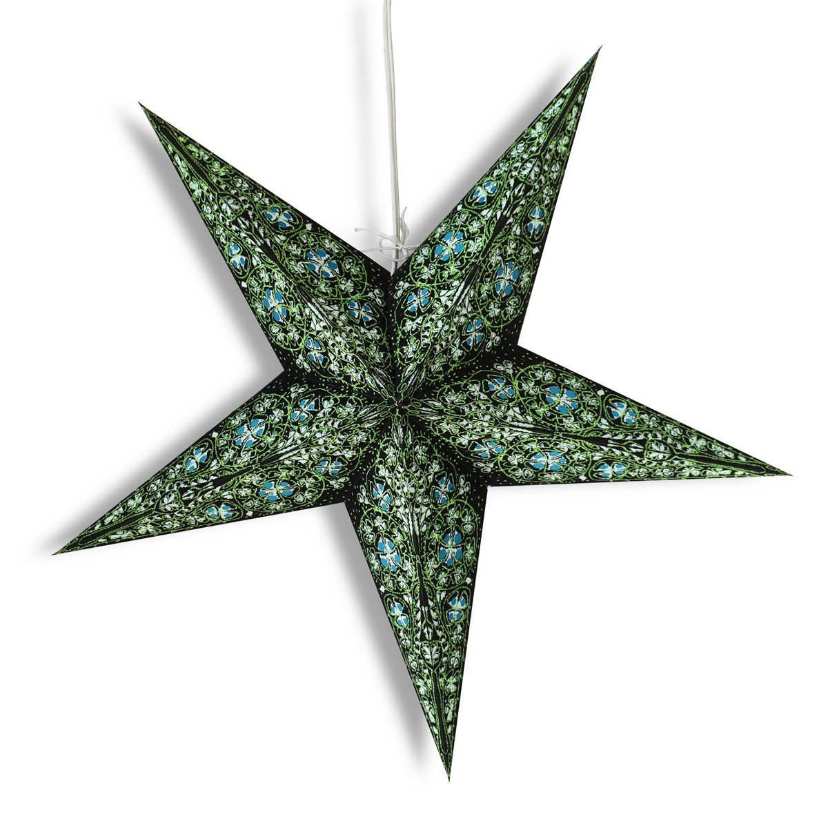 "24"" Green / Black Garden Paper Star Lantern, Hanging Wedding & Party Decoration - PaperLanternStore.com - Paper Lanterns, Decor, Party Lights & More"