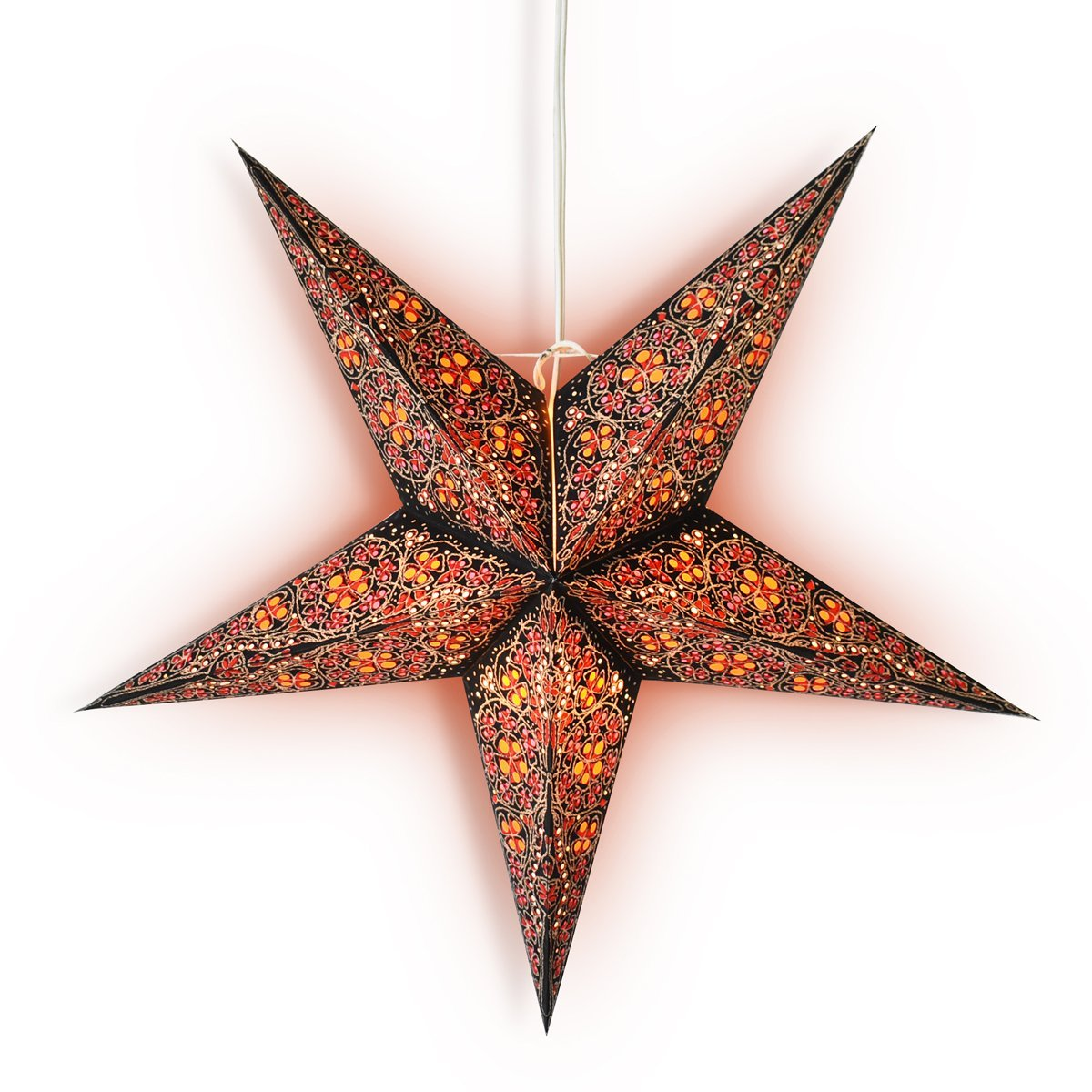 "3-PACK + Cord | 24"" Red Garden Paper Star Lantern and Lamp Cord Hanging Decoration - PaperLanternStore.com - Paper Lanterns, Decor, Party Lights & More"