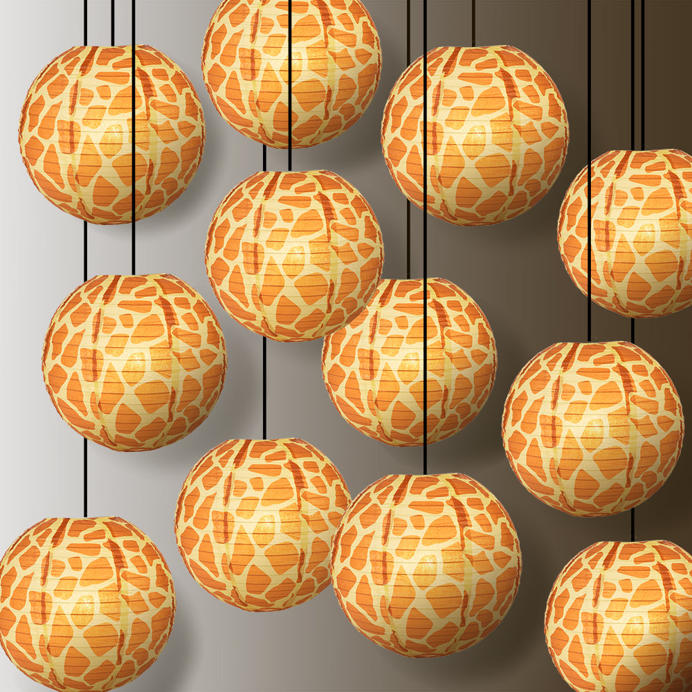 "12 PACK | 14"" Giraffe Print Paper Lantern - PaperLanternStore.com - Paper Lanterns, Decor, Party Lights & More"