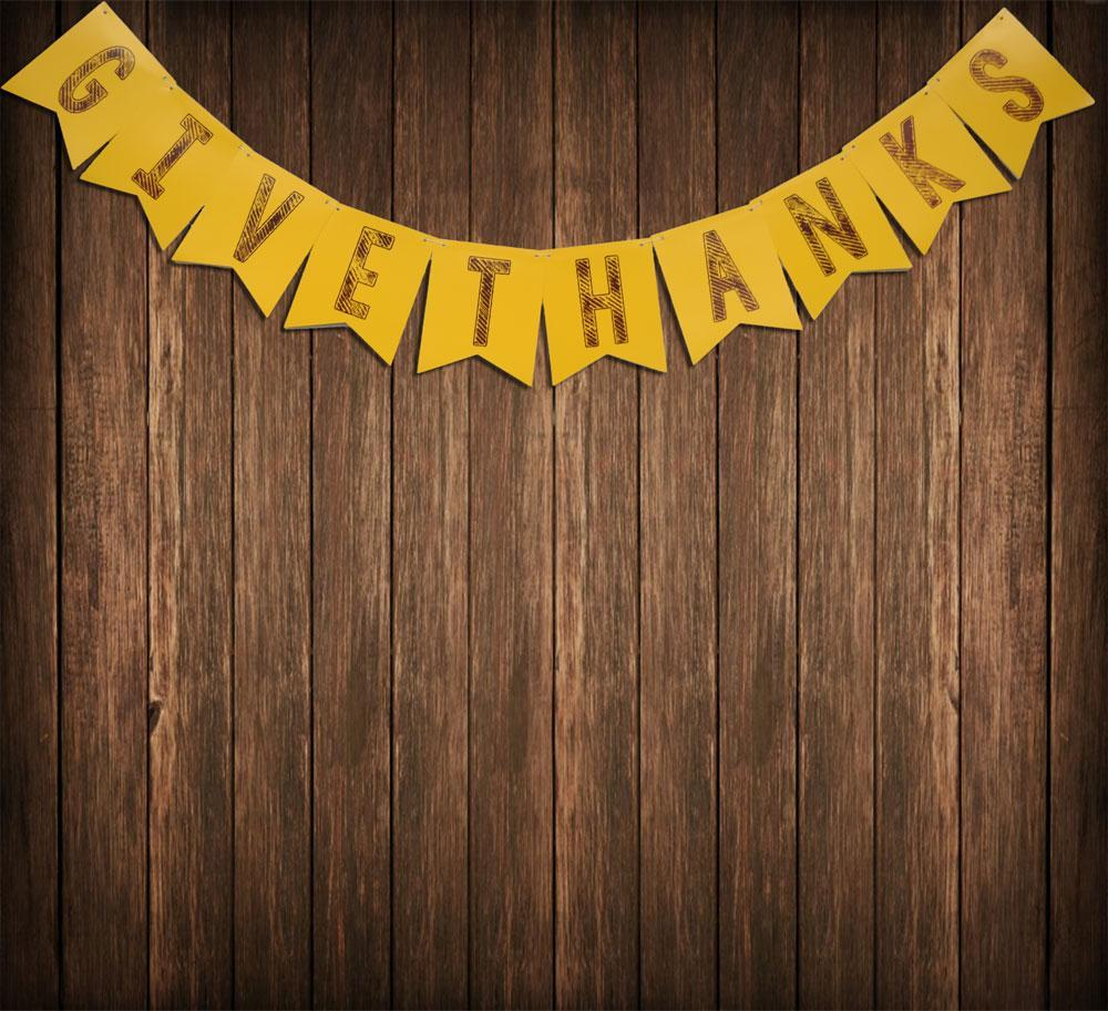 BLOWOUT Give Thanks Thanksgiving Holiday Flag Pennant Banner (10FT) - PaperLanternStore.com - Paper Lanterns, Decor, Party Lights & More