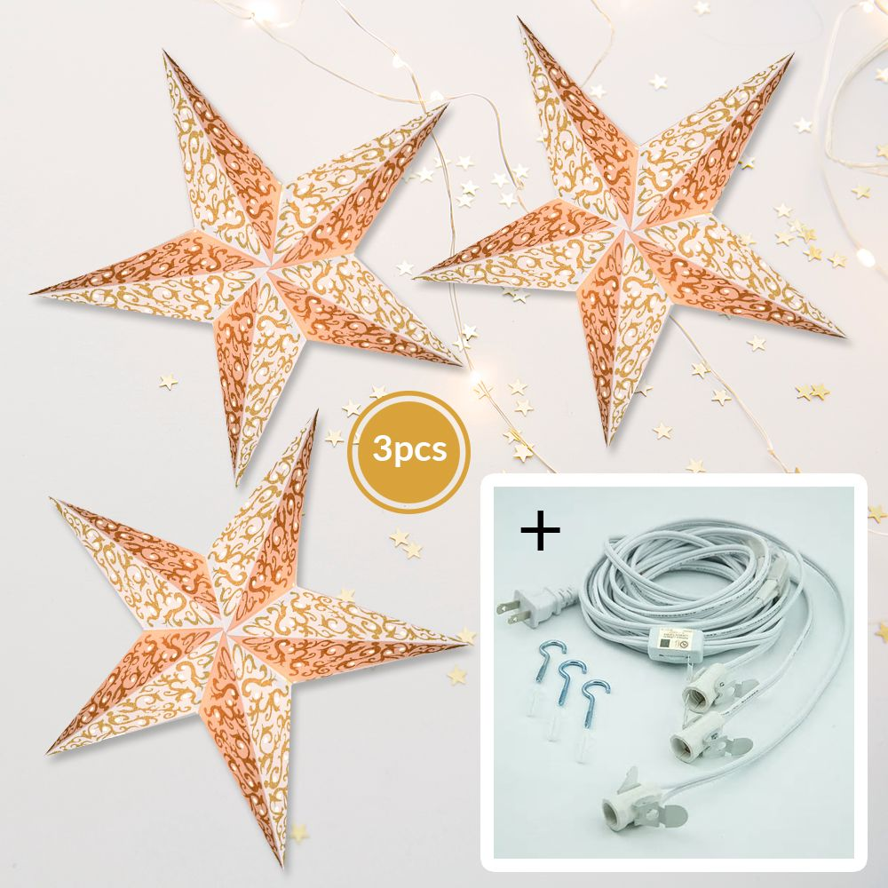 "3-PACK + Cord | Gold Glitter Bramble 24"" Illuminated Paper Star Lanterns and Lamp Cord Hanging Decorations"