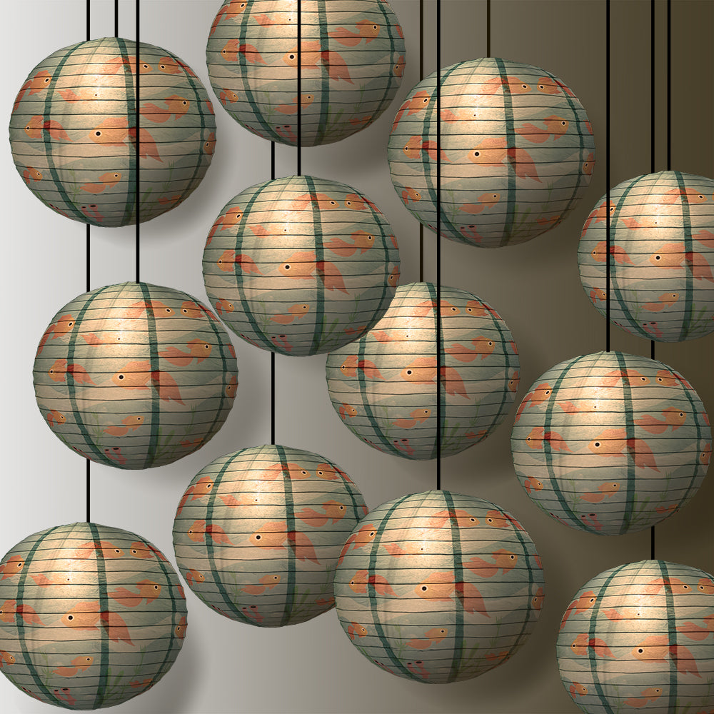 12 PACK | Gold Fish Paper Lantern - PaperLanternStore.com - Paper Lanterns, Decor, Party Lights & More