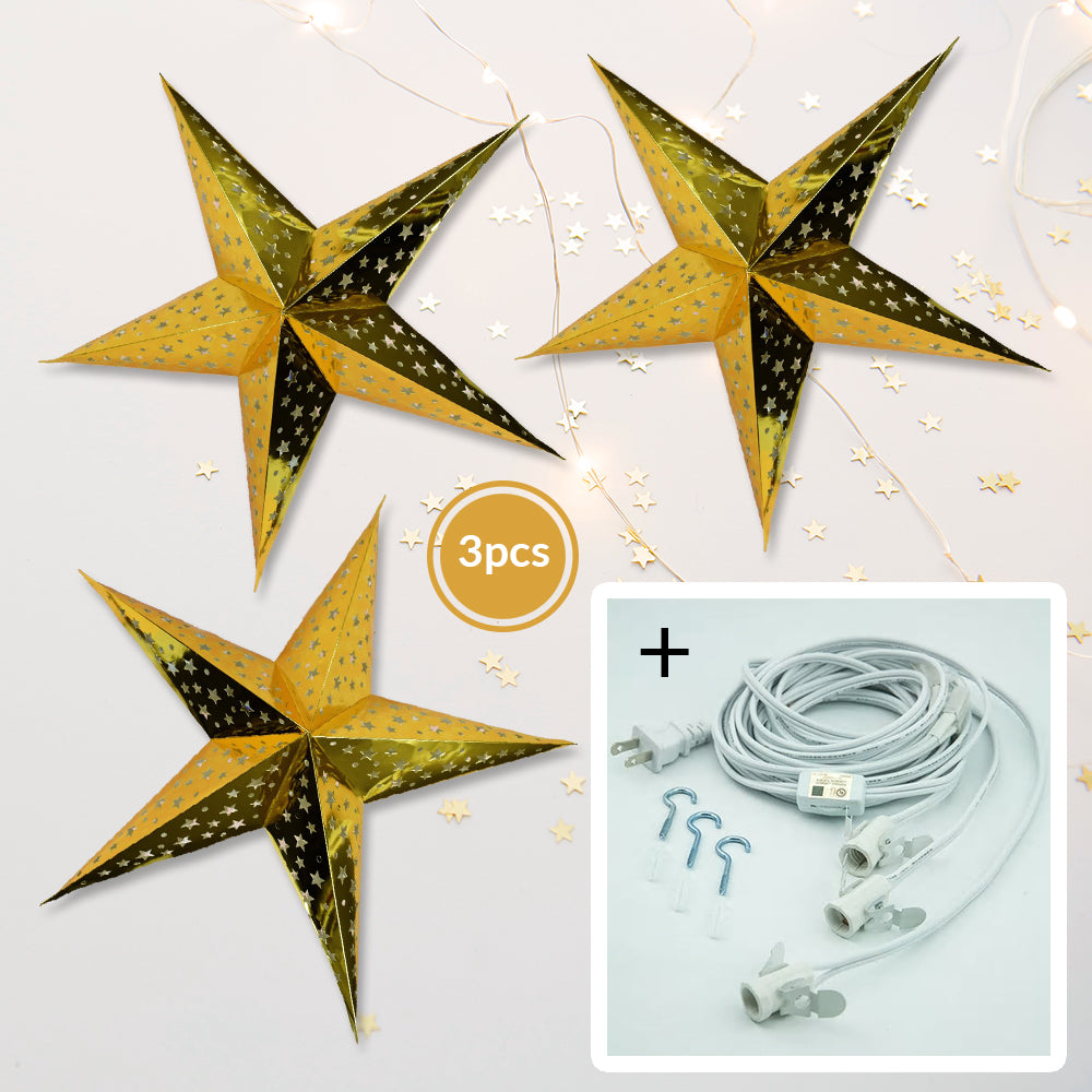 "3-PACK + Cord | Gold Starry Night 26"" Illuminated Paper Star Lanterns and Lamp Cord Hanging Decorations"