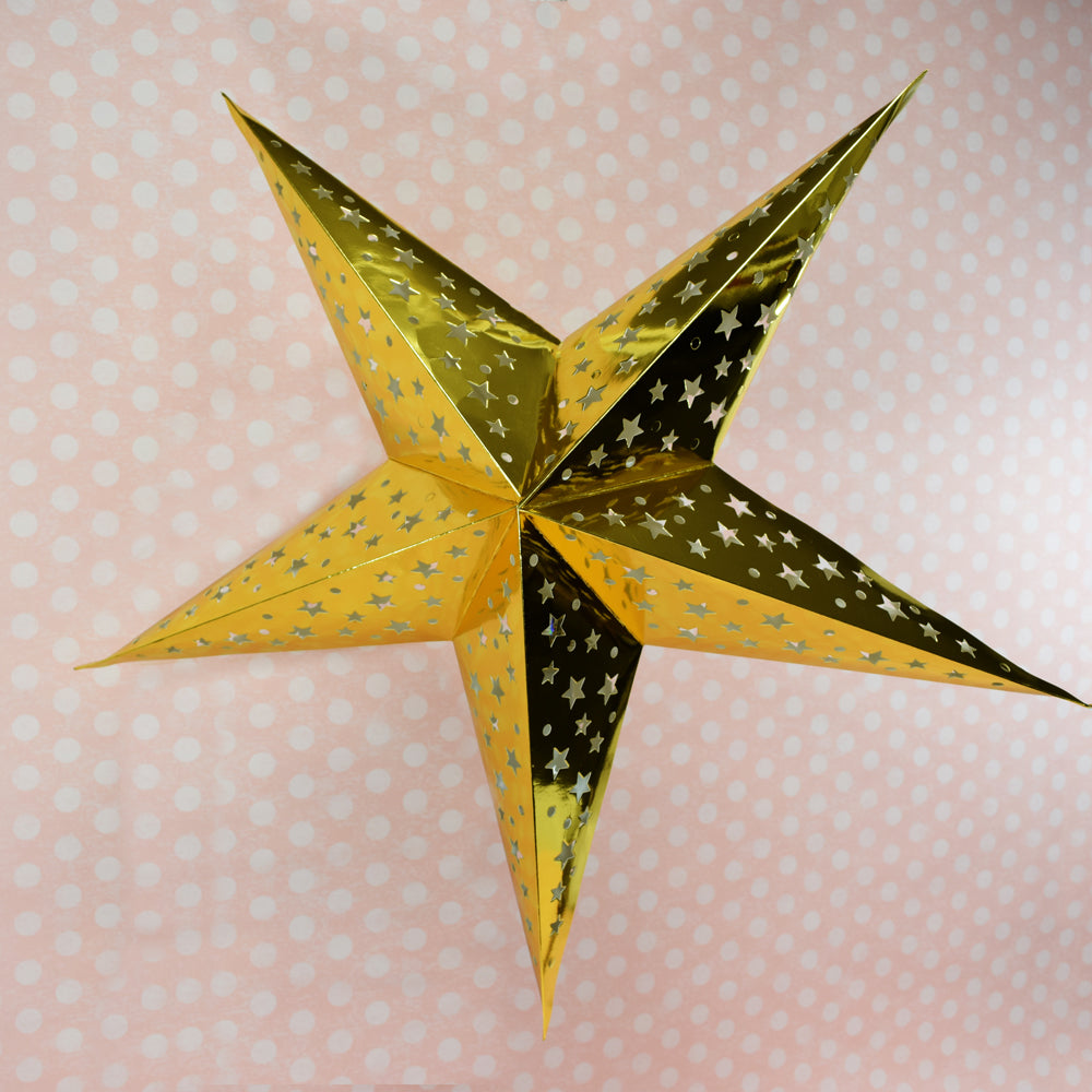 "24"" Gold Foil Cut-Out Paper Star Lantern, Chinese Hanging Wedding & Party Decoration"