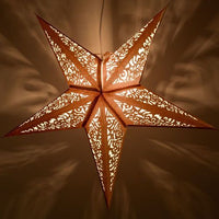 "3-PACK + Cord | Gold Christmas Holiday Glitter 24"" Illuminated Paper Star Lanterns and Lamp Cord Hanging Decorations"