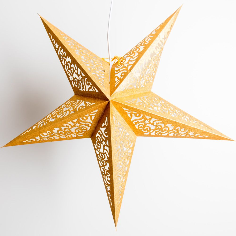 "24"" Gold Glitter Christmas Holiday Paper Star Lantern, Hanging Decoration"