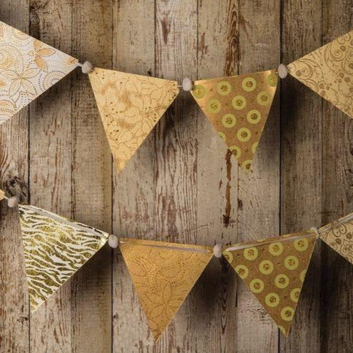 Gold Paper Large Triangle Pennant Banner (9.5 Foot Long)