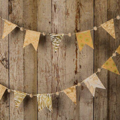 Gold Paper Small Pennant and Flag Banner (9.5 Feet Long) - PaperLanternStore.com - Paper Lanterns, Decor, Party Lights & More