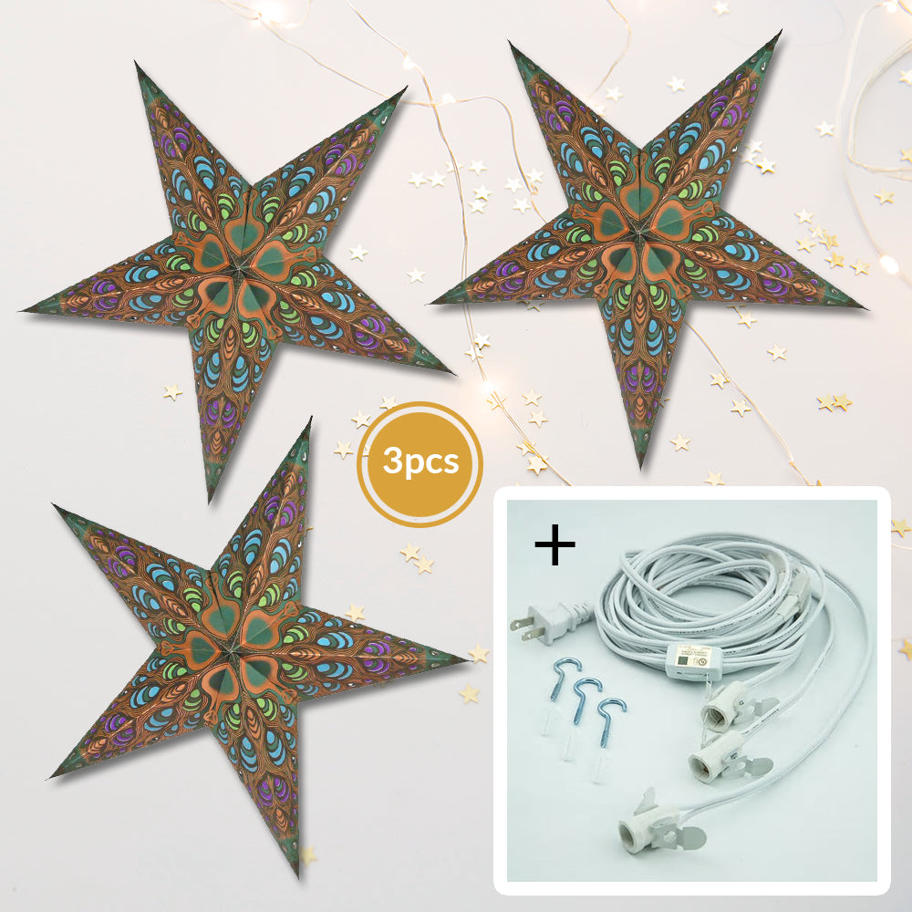 "3-PACK + Cord | Gold Peacock 24"" Illuminated Paper Star Lanterns and Lamp Cord Hanging Decorations - PaperLanternStore.com - Paper Lanterns, Decor, Party Lights & More"