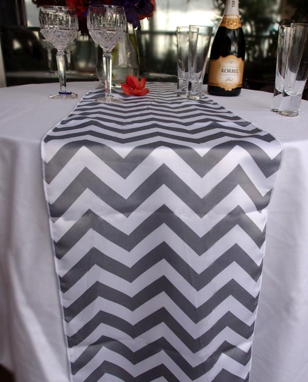 BLOWOUT Chevron Table Runner - Gray - PaperLanternStore.com - Paper Lanterns, Decor, Party Lights & More