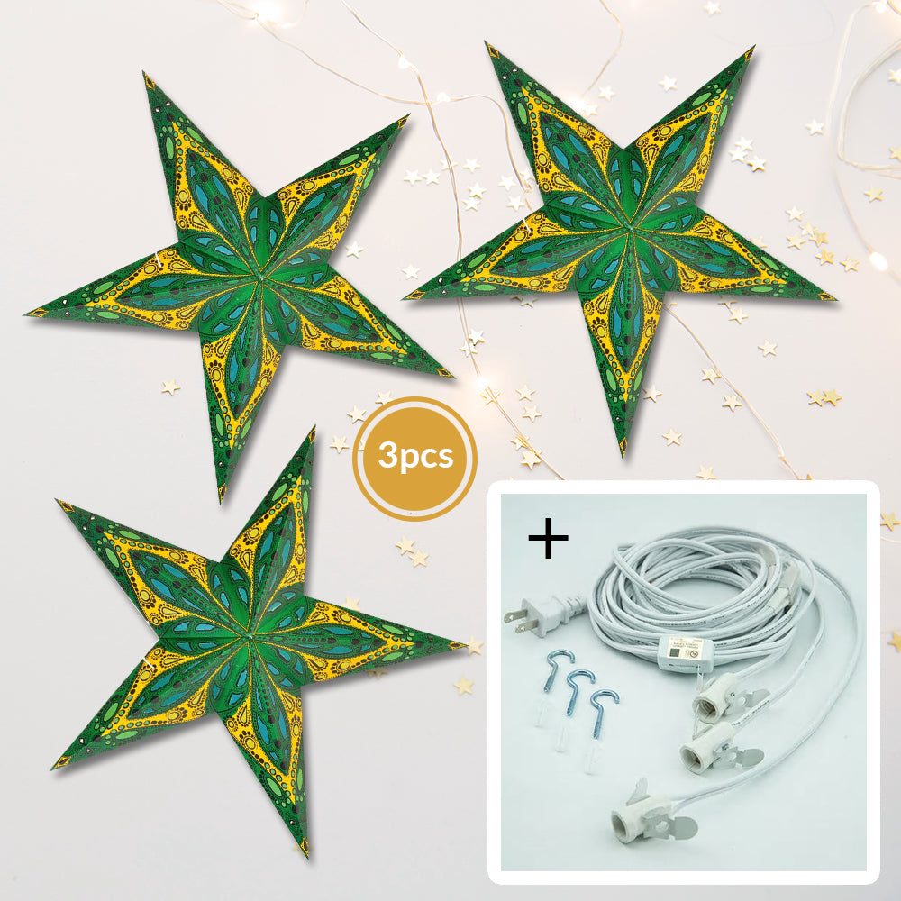 "3-PACK + Cord | Green Dahlia 24"" Illuminated Paper Star Lanterns and Lamp Cord Hanging Decorations"