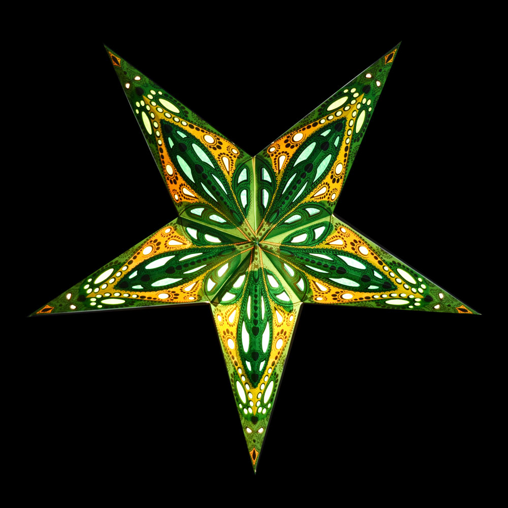 "BLOWOUT 24"" Green Dahlia Paper Star Lantern, Chinese Hanging Wedding & Party Decoration"