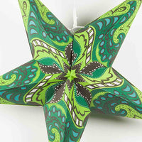 "24"" Green Paisley Paper Star Lantern, Chinese Hanging Wedding & Party Decoration"