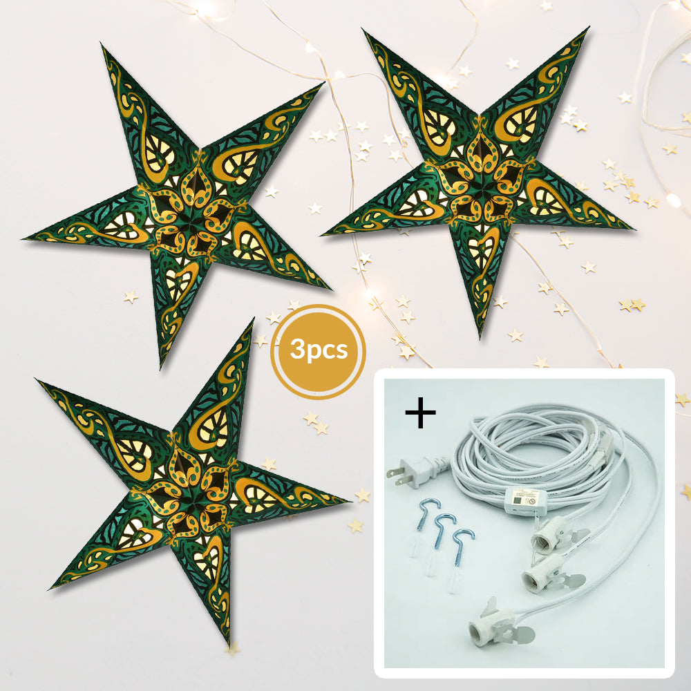 "3-PACK + Cord | Green Trance 24"" Illuminated Paper Star Lanterns and Lamp Cord Hanging Decorations"