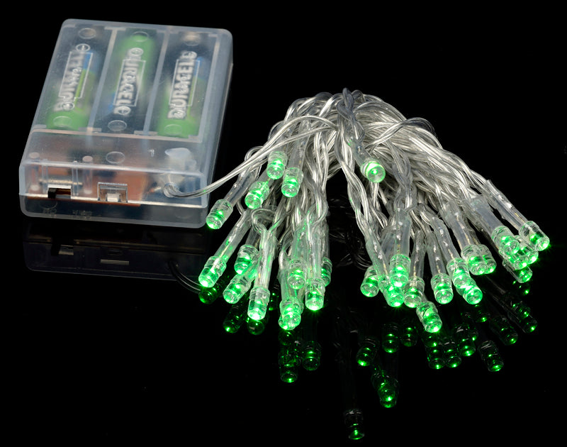 BLOWOUT 30 LED Green Mini String Lights, 10.8 FT Clear Cord, Battery Operated