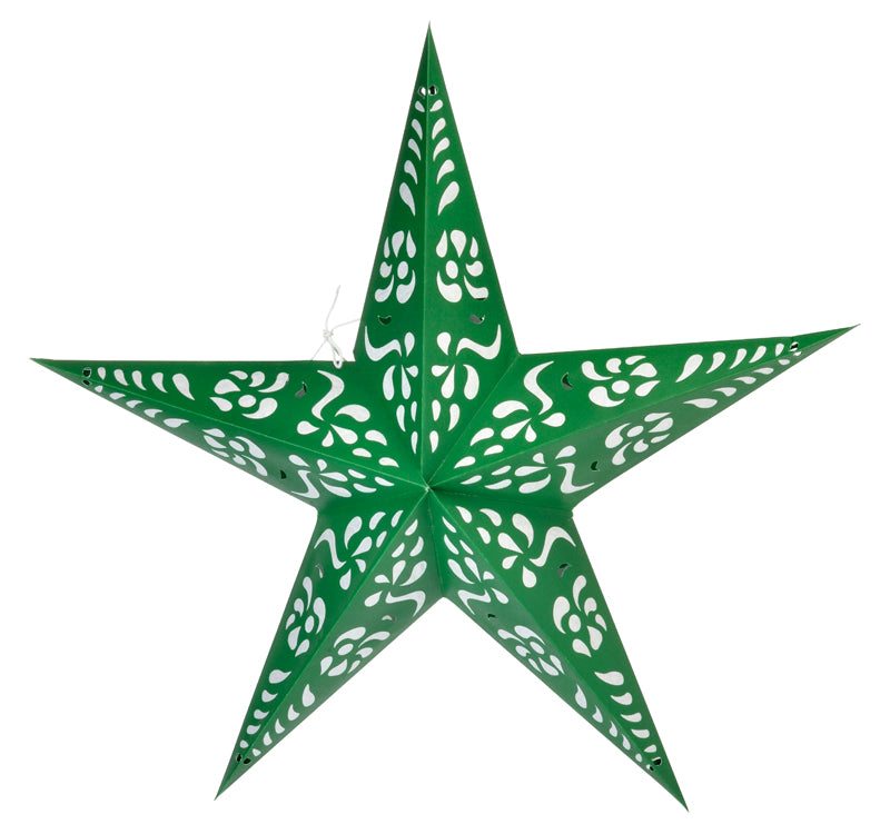 "24"" Green Punch Paper Star Lantern, Chinese Hanging Wedding & Party Decoration"