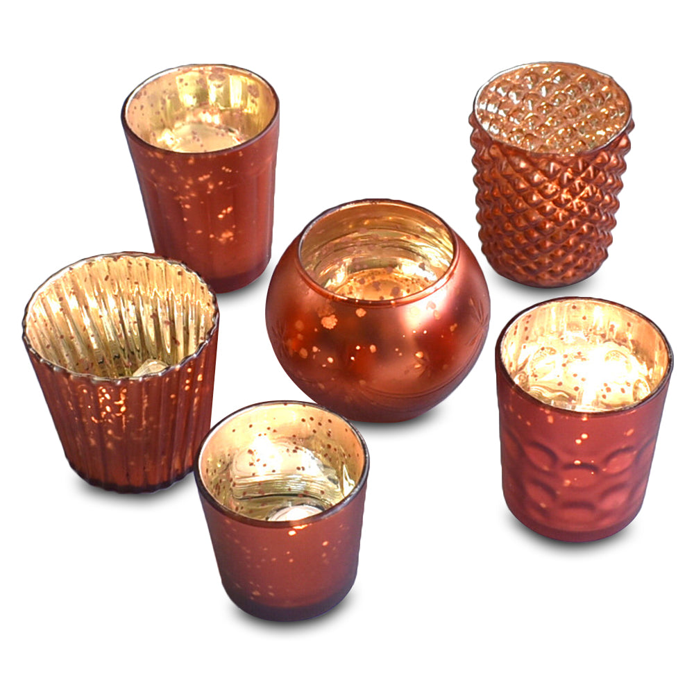 BLOWOUT Best of Show Vintage Mercury Glass Votive Tea Light Candle Holders - Rustic Copper Red (6 PACK, Assorted Designs)