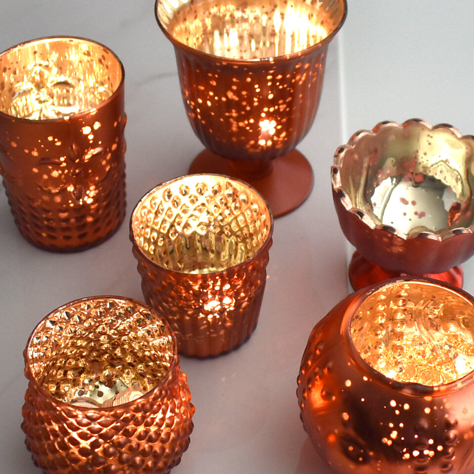 Vintage Glam Rustic Copper Red Mercury Glass Tea Light Votive Candle Holders (6 PACK, Assorted Designs and Sizes)