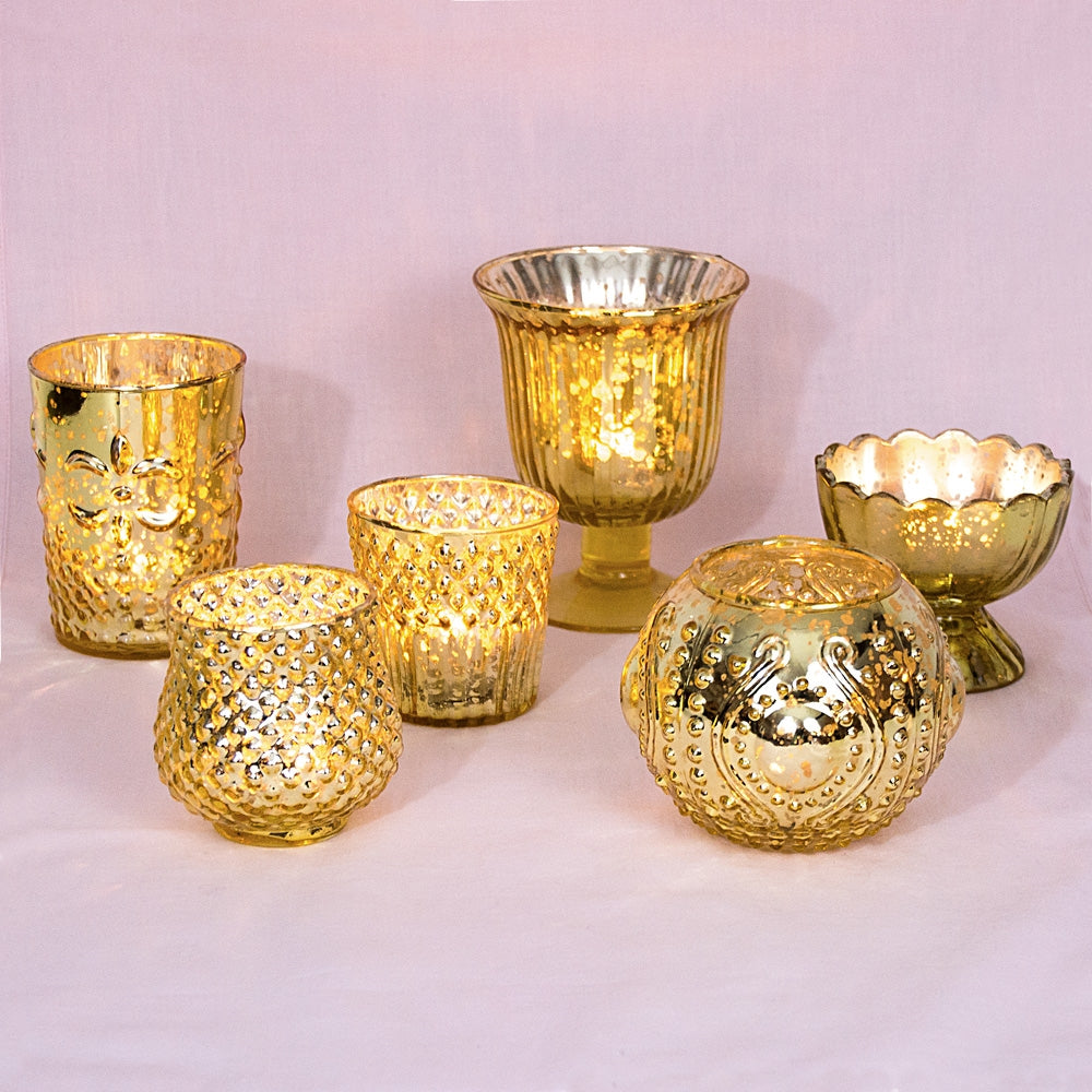 Vintage Glam Gold Mercury Glass Tea Light Votive Candle Holders (6 PACK, Assorted Designs and Sizes)