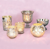 Vintage Glam Silver Mercury Glass Tea Light Votive Candle Holders (6 PACK, Assorted Designs and Sizes)
