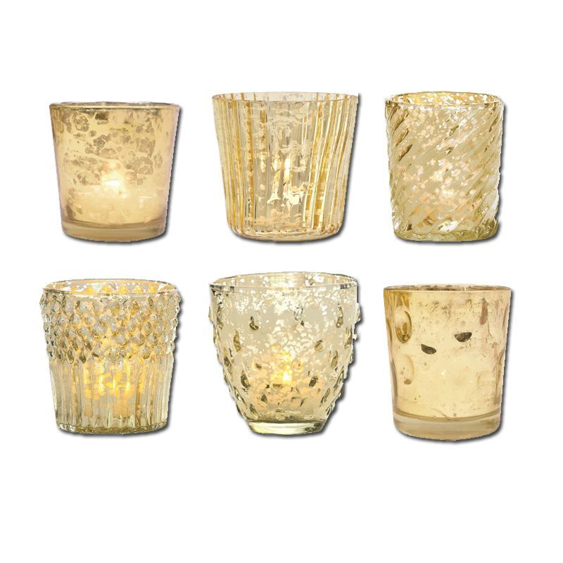 Vintage Romance Gold Mercury Glass Tea Light Votive Candle Holders (6 PACK, Assorted Styles)