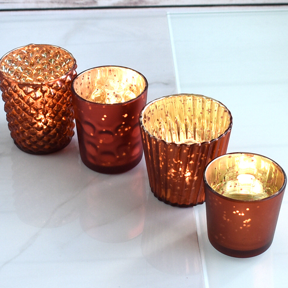 Best of Show Mercury Glass Tealight Votive Candle Holders (Rustic Copper Red, Set of 4, Assorted Styles) - for Weddings, Events, Parties, Home Decor