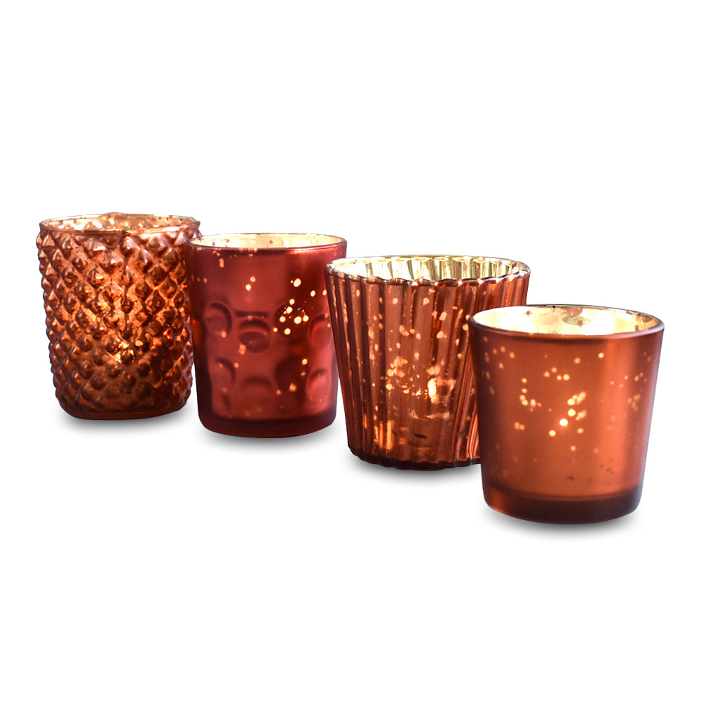 Best of Show Mercury Glass Tealight Votive Candle Holders (Rustic Copper Red, Set of 4, Assorted Styles) - for Weddings, Events, Parties, Home Decor - PaperLanternStore.com - Paper Lanterns, Decor, Party Lights & More