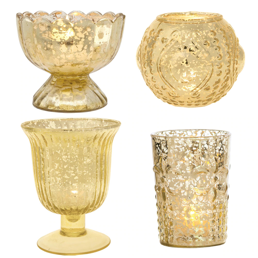 Vintage Glam Mercury Glass Tealight Votive Candle Holders (Gold, Set of 4, Assorted Designs and Sizes) - for Weddings, Events, Parties, and Home Décor