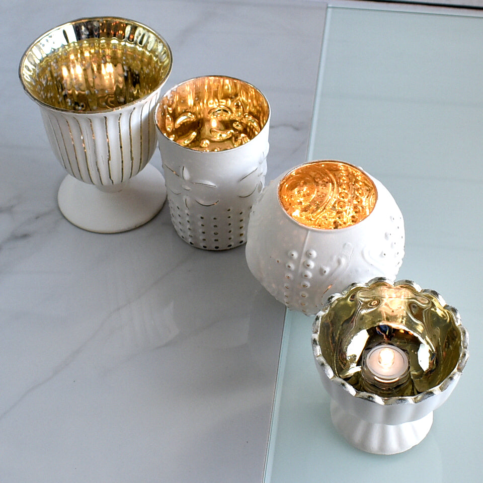 Vintage Glam Mercury Glass Tealight Votive Candle Holders (Antique White, Set of 4, Assorted Designs and Sizes) - for Weddings, Events and Home Décor - PaperLanternStore.com - Paper Lanterns, Decor, Party Lights & More