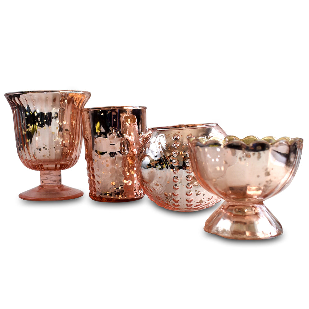 4 Pack | Vintage Glam Mercury Glass Tealight Votive Candle Holders (Rose Gold Pink, Assorted Designs and Sizes) - for Weddings, Events & Home Décor