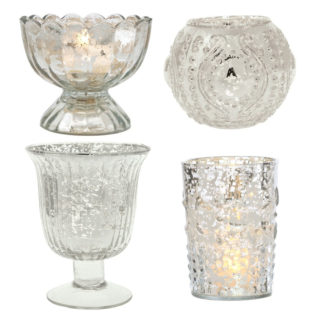 Vintage Glam Mercury Glass Tealight Votive Candle Holders (Silver, Set of 4, Assorted Designs and Sizes) - Weddings, Events, Parties, and Home Décor