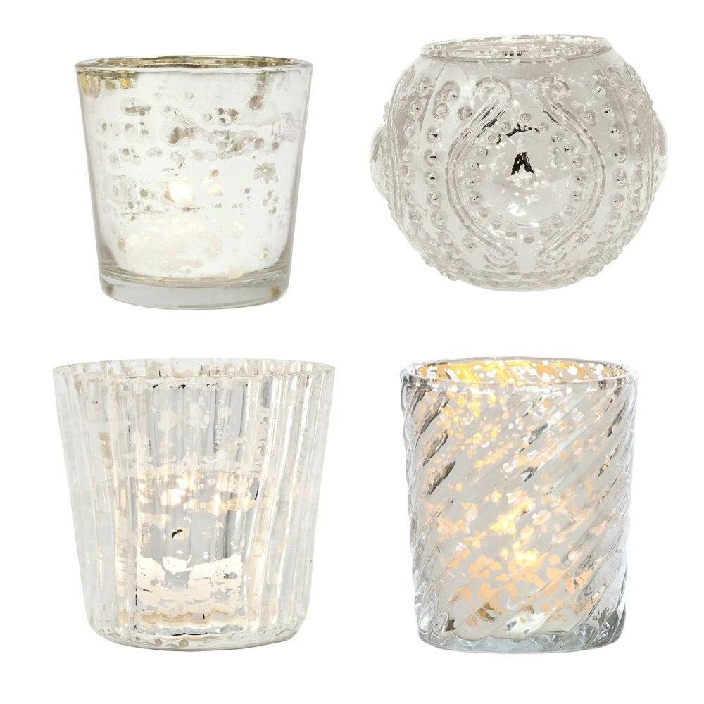Royal Flush Mercury Glass Tealight Votive Candle Holders (Silver, Set of 4, Assorted Designs and Sizes) - for Weddings, Events, Parties, and Home Décor, Ideal Housewarming Gift