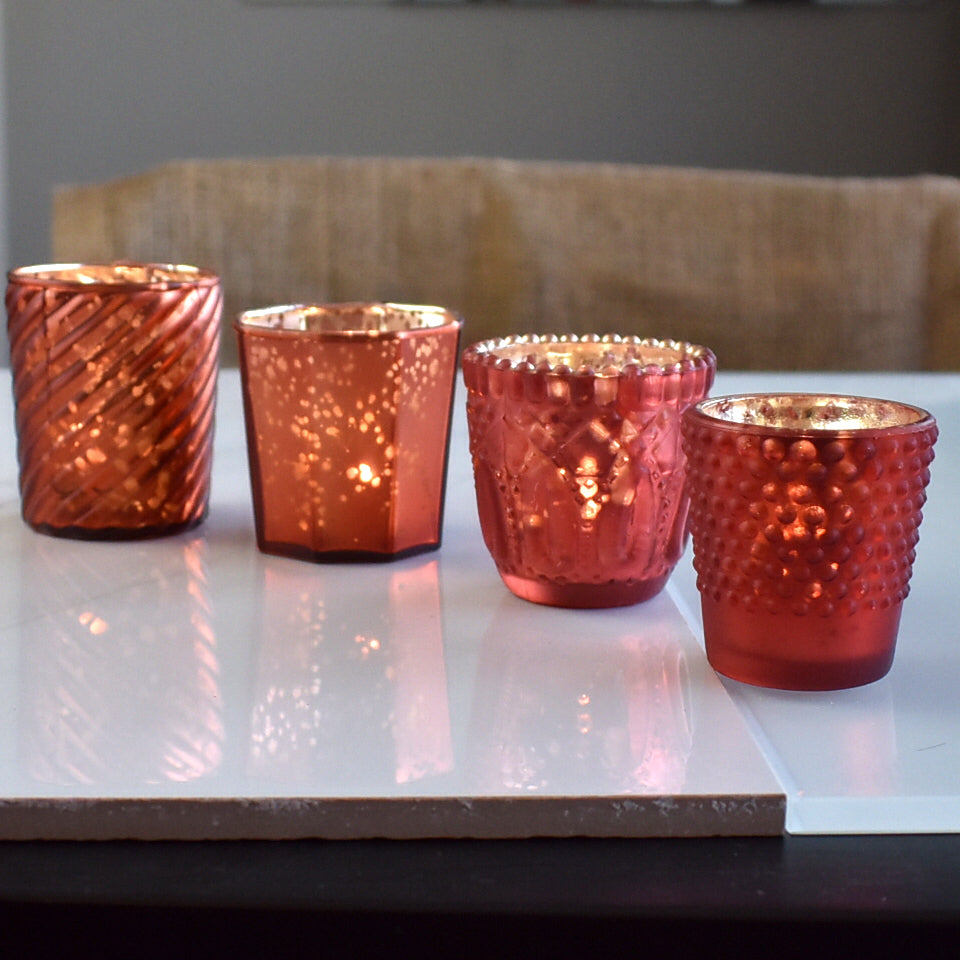 4 Pack | Vintage Chic Mercury Glass Tealight Votive Candle Holders (Rustic Copper Red, Assorted Designs and Sizes) - for Weddings, Events & Home Décor