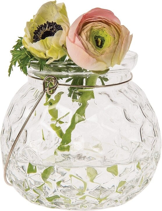 BLOWOUT Hannah Clear Hanging Mason Jar Candle Holder and Vase