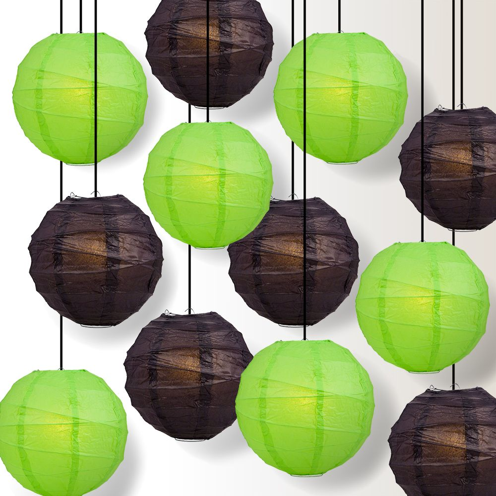 Halloween 12-Piece Black / Green Paper Lantern Party Pack Set, Assorted Hanging Decoration