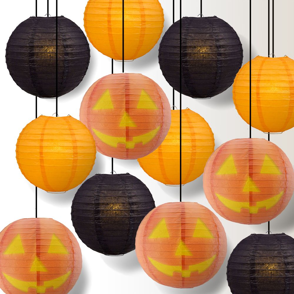 Halloween 12-Piece Jack-o-Lantern Pumpkin Paper Lantern Party Pack Set, Assorted Hanging Decoration
