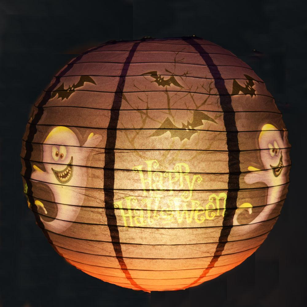 "12"" Ghosts and Bats Happy Halloween Paper Lantern - PaperLanternStore.com - Paper Lanterns, Decor, Party Lights & More"