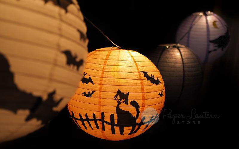 "14/16"" Halloween COMBO Kit Assorted Paper Lantern String Light Party Decoration (31 FT, EXPANDABLE, Black Cord)"
