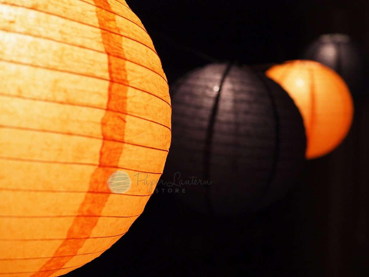 Halloween Black and Orange Paper Lantern String Light Party Decoration COMBO Kit (31 FT, EXPANDABLE, White Cord)