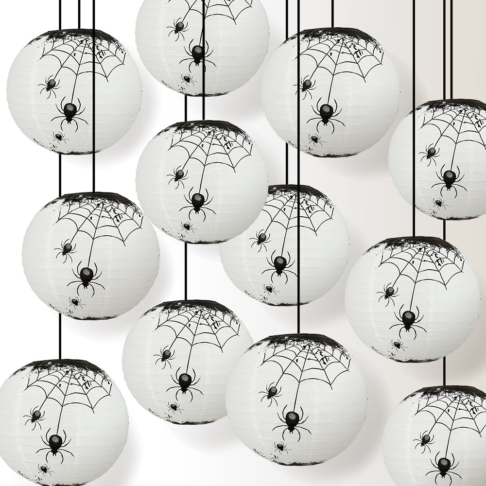"12 PACK | 14"" Halloween Spiders Spooky Bug Webs Paper Lantern, Hanging Decoration - PaperLanternStore.com - Paper Lanterns, Decor, Party Lights & More"