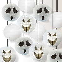 Halloween 12-Piece Spooky Ghosts Paper Lantern Party Pack Set, Assorted Hanging Decoration
