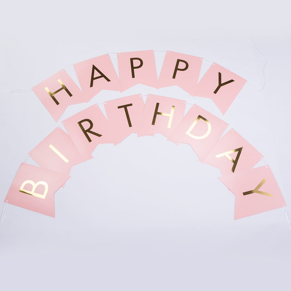 BLOWOUT Pink Gold Foil Happy Birthday Party Pennant Banner Garland Decoration (8FT)