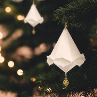 "4.75"" White Heike Design Tear Drop Origami Ornament Christmas Decoration"