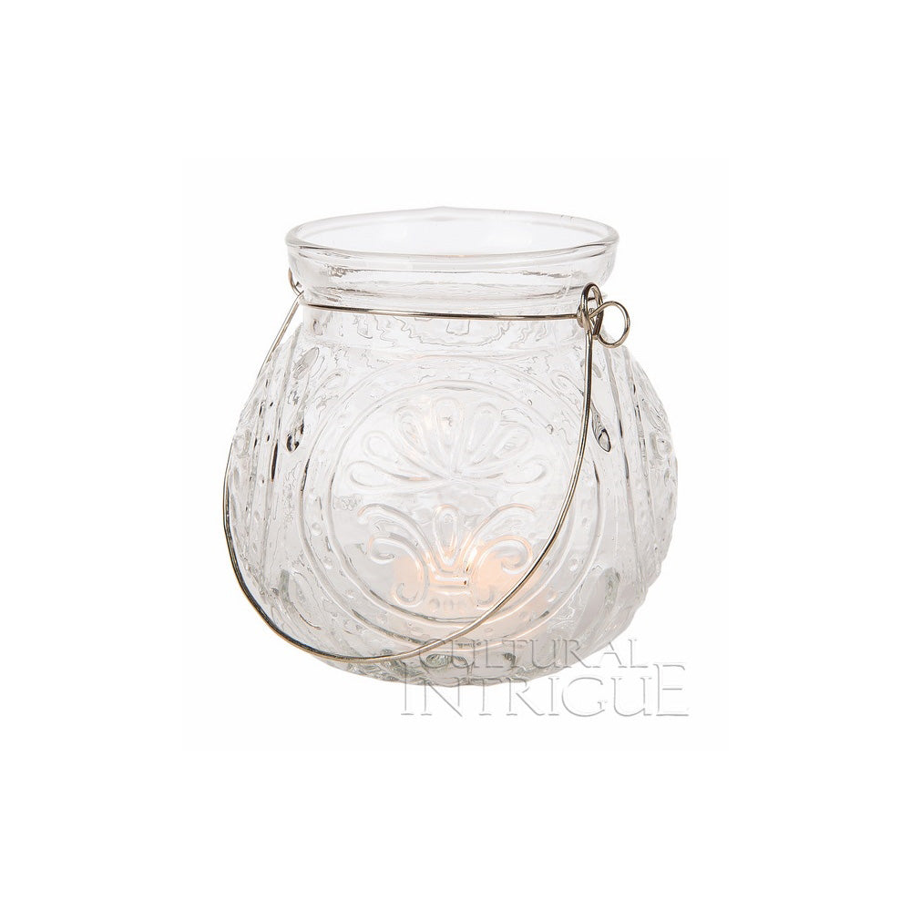 BLOWOUT Hanging Jar Candle Holder (4-Inch, Clear, Florence Design) - For Use with Tea Lights - For Home Decor, Parties, and Wedding Decorations