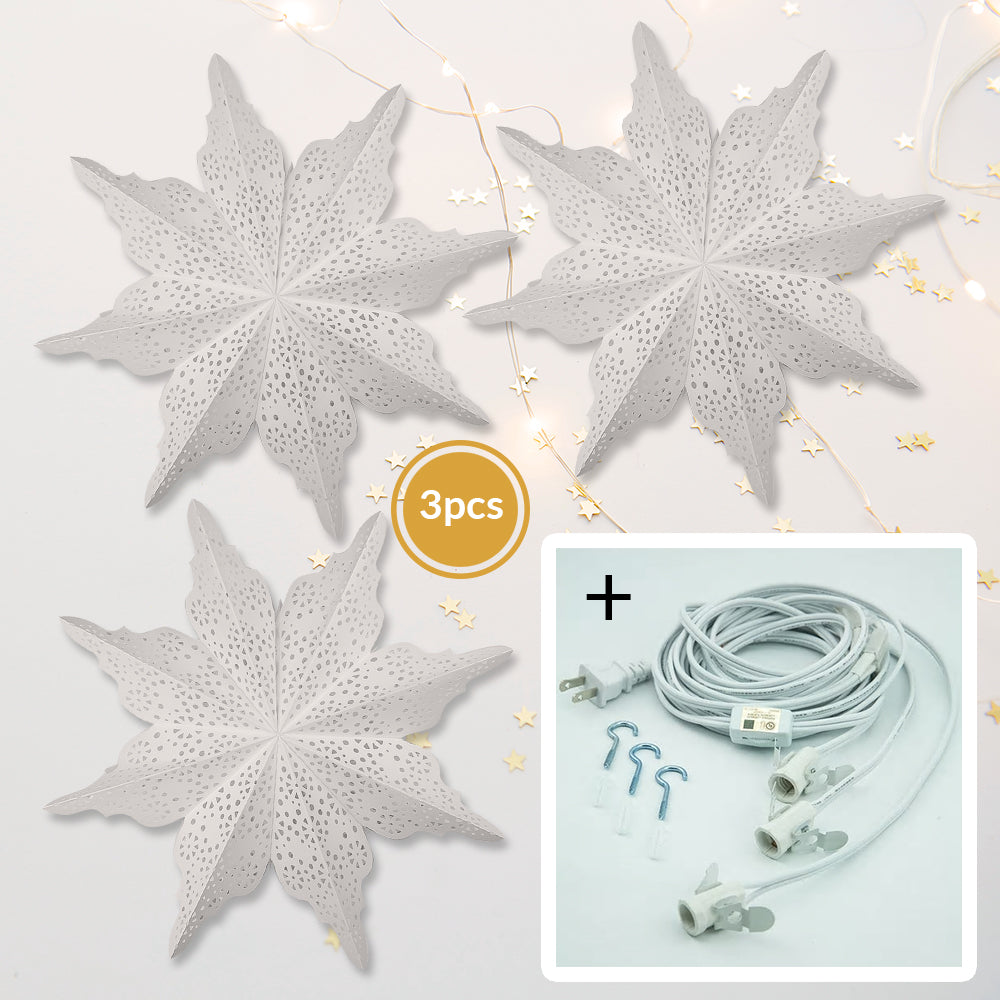 "3-PACK + Cord | Bright White Cristallo 29"" Pizzelle Designer Illuminated Paper Star Lanterns and Lamp Cord Hanging Decorations"