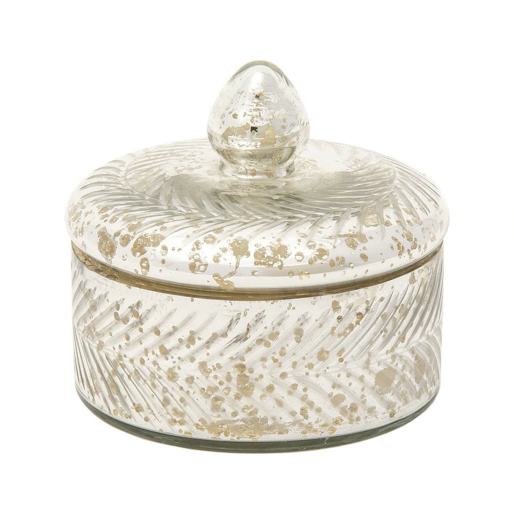 BLOWOUT Vintage Mercury Glass Trinket Box (4.75-Inch, Silver, Etched Design)