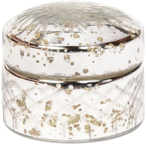 Vintage Mercury Glass Trinket Box (2.75-Inch, Silver, Round Design)