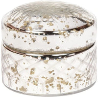 BLOWOUT Vintage Mercury Glass Trinket Box (2.75-Inch, Silver, Round Design)